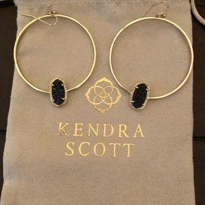 Kendra Scott blue druzy hoop earrings